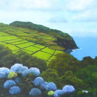 Beautiful Azores, 12x12 Oil on Canvas, Landscape of Terceira Island, Azores