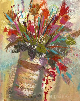 "Contemporary Mixed Media Abstract Flower Art Painting ""Spring Bouquet"" by Illinois Artist Marilyn Weisberg"