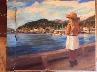 Waiting for Grandpa Original Oil Painting by Margaret Aycock