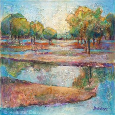 """Contemporary Abstract Landscape, Fine Art Painting """"In the Stillness Lies the Truth"""" by Passionate Purposeful Painter Holly Hunter Berry"""