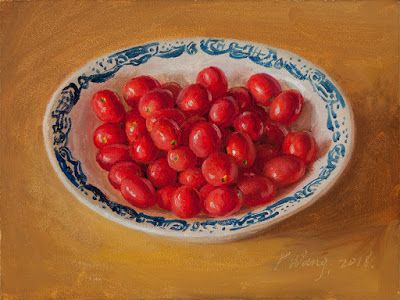 Cherry tomatoes in a bowl still life oil painting original daily painting a day