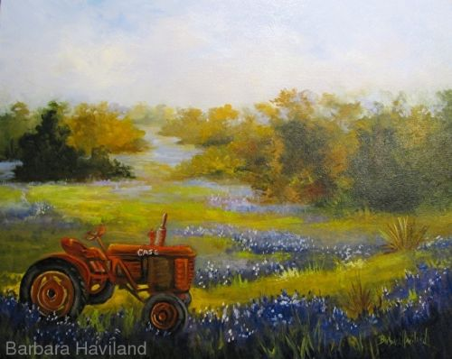 Case Ranch and Blue Bonnets,oil painting,Barbara Haviland,Texas Landscape Artist