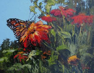 Pollen Seeker-Monarch, New Contemporary Floral Painting by Sheri Jones