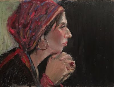The Fortune Teller - original oil pastel portrait painting