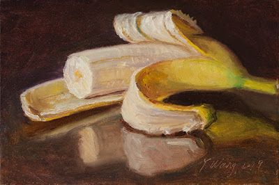 A peeled banana, still life oil painting small daily painting a day, aceo
