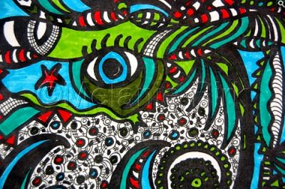 """Colorful Contemporary Abstract Art Drawing """"Ocean Eye"""" by Santa Fe Artist and Designer Melanie Birk"""