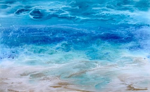 "Large Abstract Seascape Painting,Coastal Art,Beach,Contemporary Seascape, Coastal Home Decor, Oversized Art ""Saturday's Surf- Racing the Tide Series"" by Colorado Contemporary Artist Kimberly Conrad"