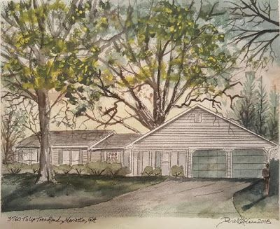 Wood House Watercolor Painting
