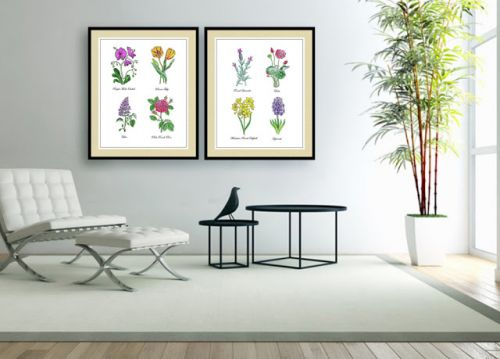 Watercolor Botanical Flowers In Interior Decor
