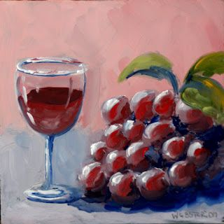 Mark Webster - Small Glass of Wine with Grapes
