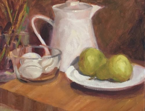Class Demo w Pears Oil painting by Margaret Aycock