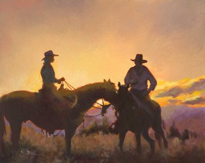 """Original Western Landscape,Equine, Cowboy Painting """"Day's End"""" by Colorado Artist Nancee Jean Busse, Painter of the American West"""