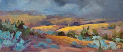 "Impressionist Landscape,Trees, Fine Art Oil Painting ""Stormy Sky"" by Colorado Contemporary Fine Artist Jody Ahrens"