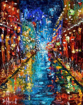 "New Orleans Cityscape Street Scene Abstract Art Painting ""Party Lights"" by Texas Artist Debra Hurd"