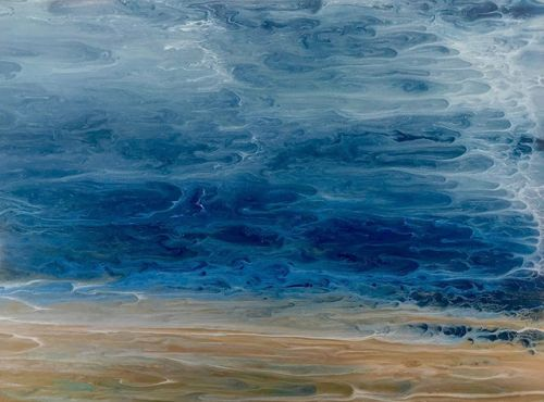 "Abstract Seascape, Coastal Living Decor, Contemporary Seascape, Ocean Wave Art ""Edge of the Storm-Electric Storm Series"