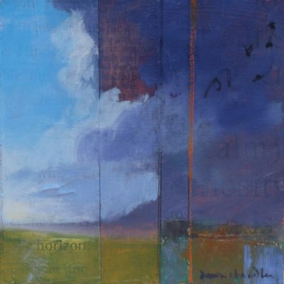 'I have found a horizon' contemporary mixed media western landscape by painter dawn chandler