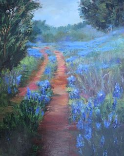 Blue Bonnets Trail, New Contemporary Landscape Painting by Sheri Jones