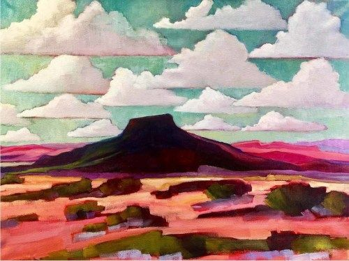 "New Mexico, Contemporary Abstract Bold Expressive Landscape Art Painting ""Pedernal Ghost Ranch II"" by Santa Fe Artist Annie O'Brien Gonzales"