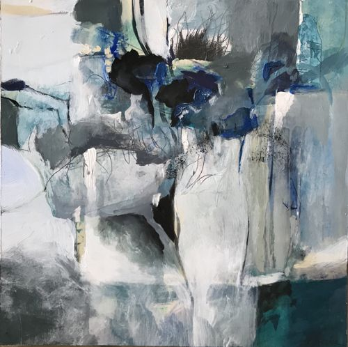 """Contemporary Abstract Landscape Art Painting,""""WINDOW OF ABUNDANCE"""" by Intuitive Artist Joan Fullerton"""