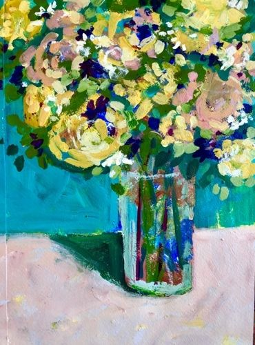 """Contemporary Expressionist Bold Still Life Flower Art Painting """"Alstromeria, Pink and Yellow"""" by Santa Fe Artist Annie O'Brien Gonzales"""
