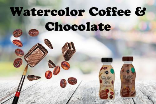 Watercolor Of Chocolate And Coffee Beans On Morning Drink Bottles