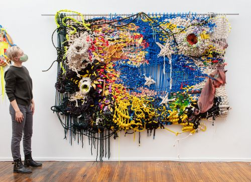 Industrial Materials and Rugged Topographies Converge in Jacqueline Surdell's Knotted Tapestries