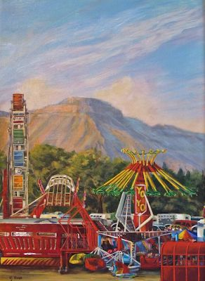 "Original Colorful Fairgrounds Colorado Landscape ""County Fair"" by Colorado Artist Nancee Jean Busse, Painter of the American West"