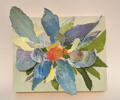 "SUMMER SALE, Floral Paper Sculpture, Collage ""BRIGHT BLOOM SCULPTURAL FLOWER"