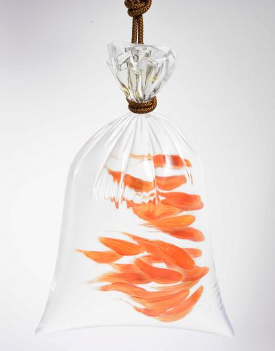 Abstract Goldfish Swim Through Imitation Plastic Bags in Multi-Media Constructions by Riusuke Fukahori