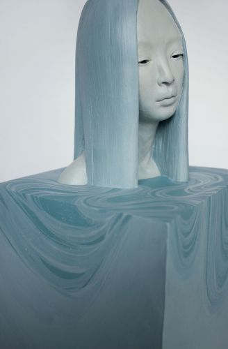 New Contemplative Female Busts Cast from Porcelain, Polymer Gypsum, and Resin by Gosia