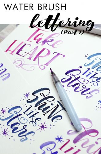 Creating with makewells- water brush lettering