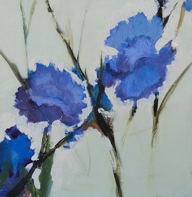 "Impressionist Floral Painting, Fine Art Oil Painting, Blue Flower ""Multiple Blue Iris"" by Colorado Artist Susan Fowler"