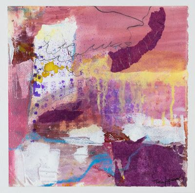 """Pink Art, Mixed Media Abstract Painting, Contemporary Art, Expressionism, """"Pretty In Pink I"""" by Contemporary Artist Tracy Lupanow"""