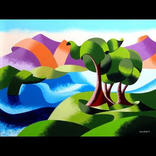 Mark Webster - Elephant Trees at the Watering Hole - Abstract Geometric Landscape Oil Painting