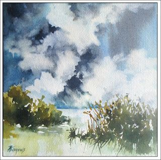 Skyscape 11..Watercolor.Texas Artist.Rae Andrews
