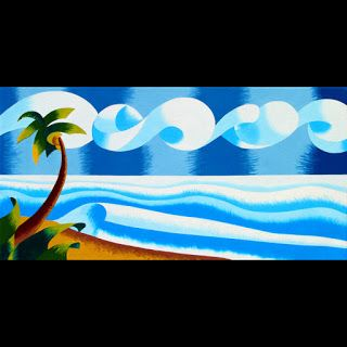Mark Webster - Abstract Palm Tree Coast Landscape Oil Painting 12x24