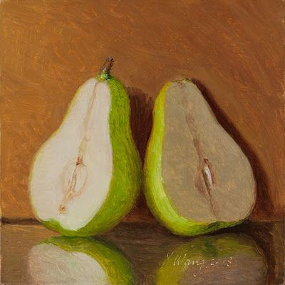 Pear halves still life fruit a painting a day daily painting