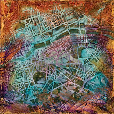 "Mixed Media Abstract Painting ""Aerial View"" by Santa Fe Contemporary Artist Sandra Duran Wilson"