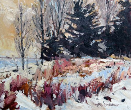 Cottage Garden In Winter Oil / panel 10In. x 12IN