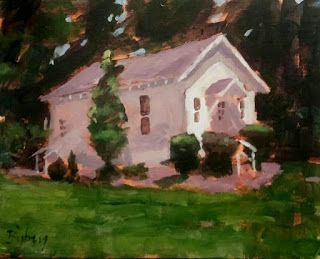 Meeting House. 11x14 acrylic on canvas