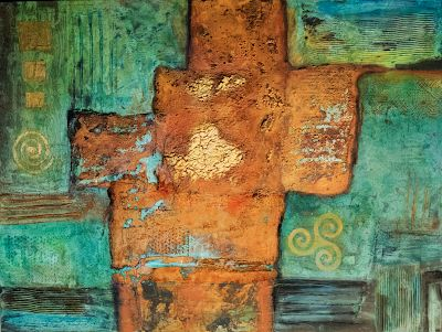 "Contemporary Abstract Mixed Media Painting ""Mother Lode"" by Arizona Artist Pat Stacy"