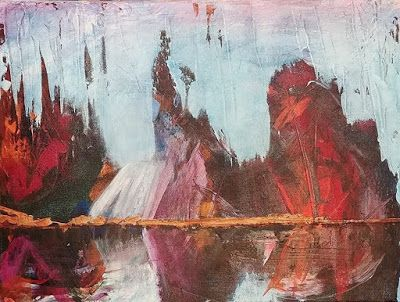 "Contemporary Landscape, Abstract Landscape Painting, ""Contemplation"" by Arizona Abstract Artist Cynthia A. Berg"