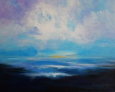 "Contemporary Abstract Seascape Painting ""Clear Skies"" by International Contemporary Seascape Artist Arrachme"
