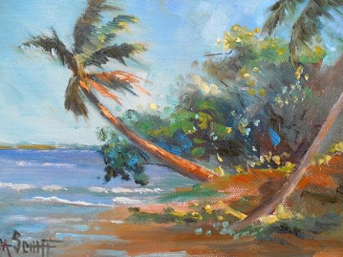 Tropical Landscape Scene, Daily Painting, Small Oil Painting, Beach House and Coastal Home Wall Decor, Florida Art