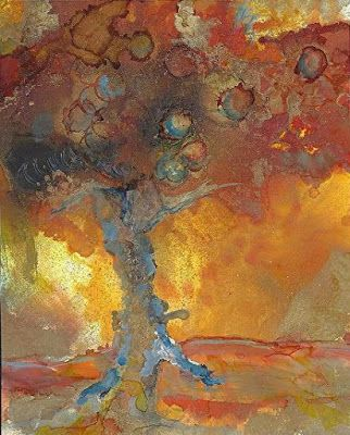 """Original Contemporary Abstract Mixed Media, Alcohol Ink Painting """"TREE FOR FERDINAND"""" by Contemporary New Orleans Artist Lou Jordan"""
