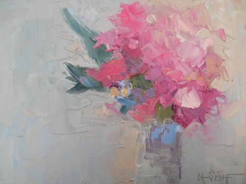 """Floral Still Life Painting, Daily Painting, Small Oil Painting, """"Pink Glory"""", 6x8"""" Oil on Panel"""