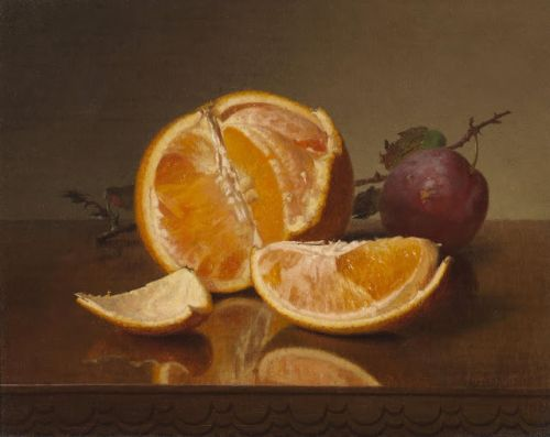 Still life with orange and plum