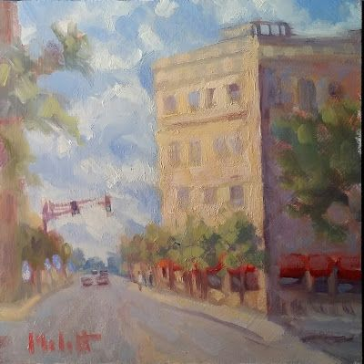 Washington Boulevard Downtown Cityscape Oil Painting
