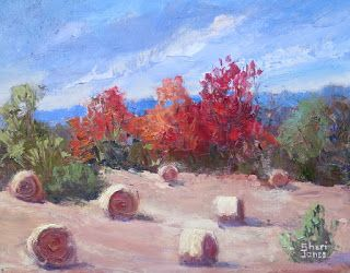 Autumn Hay, New Contemporary Landscape Painting by Sheri Jones