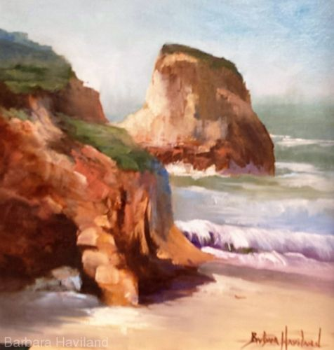 Rocky Shore,Seascape,oils,Barbara Haviland,Texas Contemporary Artist